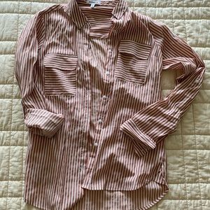 EXPRESS silky striped button down blouse